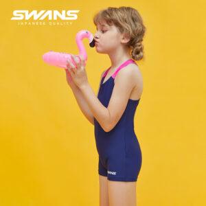 [SWANS] Kids/Junior One Piece Girl's Swim Suit Boxer Short